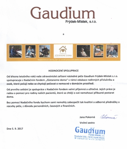 podekovani gaudium cr